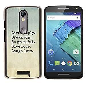 Vive Sueño Love Laugh motivación- Metal de aluminio y de plástico duro Caja del teléfono - Negro - Motorola Droid Turbo 2 / Moto X Force