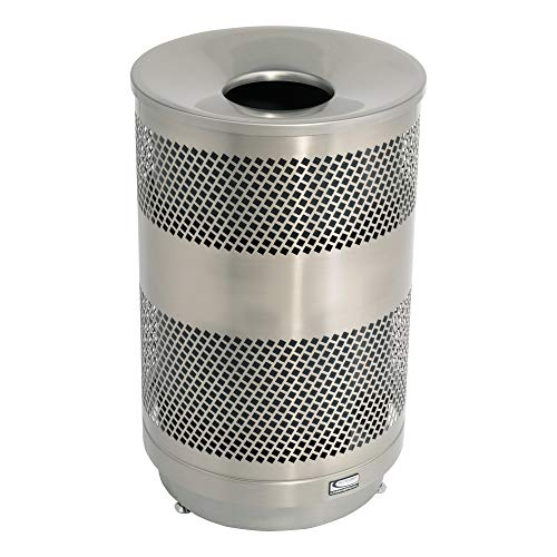 (Suncast Commercial MTCPERF55 55 gal Stainless Steel Perforated Trash Can)