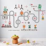 Amaonm Creative Cartoon Removable Environmental Protection DIY Curved Road My Best Friends Robot Wall Decals PVC Wall Stickers Murals Nursery Decor for Children Room Kids Bedroom Boys Room Classroom