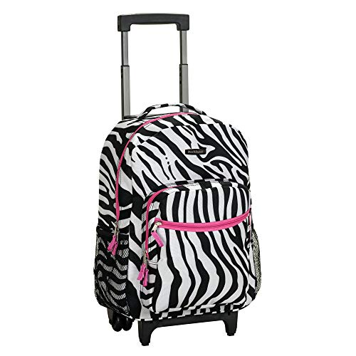 (Rockland Luggage 17 Inch Rolling Carry-On Backpack, Pink Zebra, One)