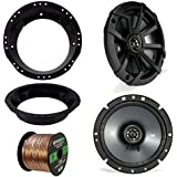 Kicker 43CSC674 6-3/4 600W CS-Series Black Car Coaxial Speakers (Pair), Metra Mounting Ring for 6.5 Speaker (Fits all Harley touring from 1998-2013), Enrock Audio 16-Gauge 50 Foot Speaker Wire