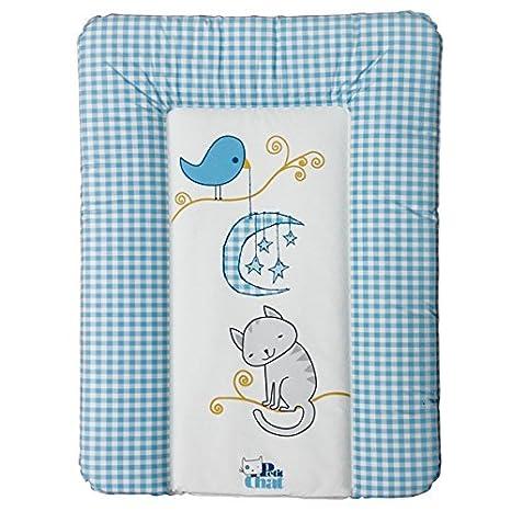 Colchón Cambiador de Bebé Blando de Petit Chat 70 * 5 * 50 cm- modelo Versalles Azul