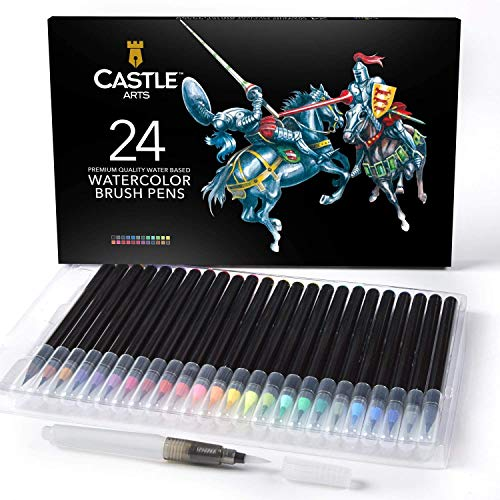 Castle Art Supplies 24 Watercolor Brush Pens for Adults Kids and Artists |Vibrant Markers Flexible Nylon Brush Tip for Coloring Books Calligraphy Drawing and Writing | Includes Free Blending Water Pen