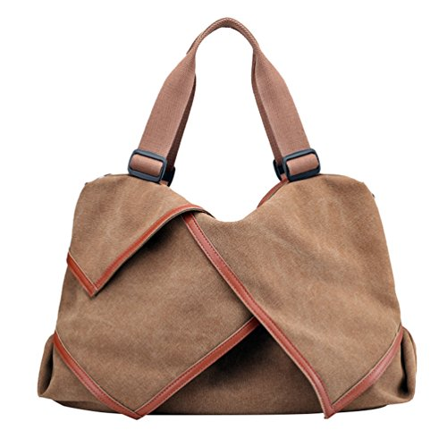Bags Crossbody Handbags Tote Capacity ZKOO Bags Hobos Shopper Womens Bag Canvas Shoulder Brown Large WUq7qzYw