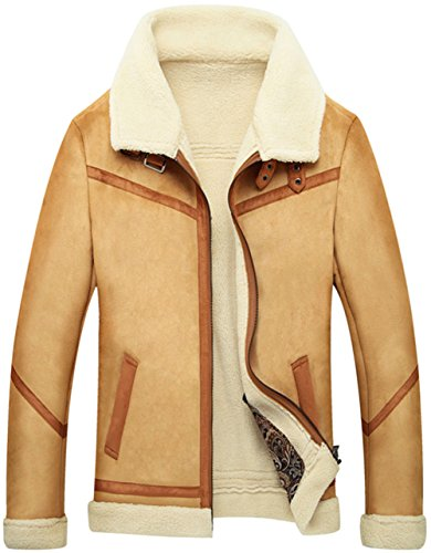 Shearling Mens Car Coat - Jinmen Men's Suede Bomber Jacket Fur Coat & Plus Size and More Style (XX-Large, US6PM2-Khaki)