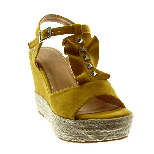 Angkorly Damen Schuhe Sandalen Espadrilles - Offen - Plateauschuhe - mit Rüschen - Nieten - Besetzt - Seil Keilabsatz High Heel 10.5 cm Senffarbe