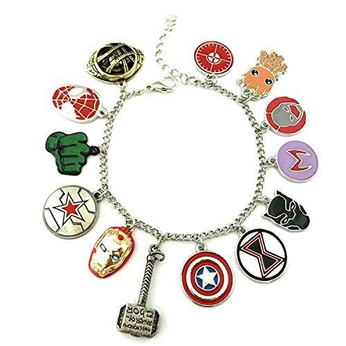 Classic Marvel Characters Theme Multi Charms Lobster Clasp Bracelet in Gift Box -