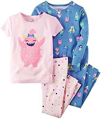 Carter's Girls' 4 Pc Cotton 351g160, Silly Pink Monster, 2T