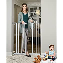 Regalo Easy Step Extra Tall Walk Thru Gate, Includes 6-Inch Extension Kit, 4 Pack of Pressure Mount Kit and 4 Pack of Wall Mount Kit