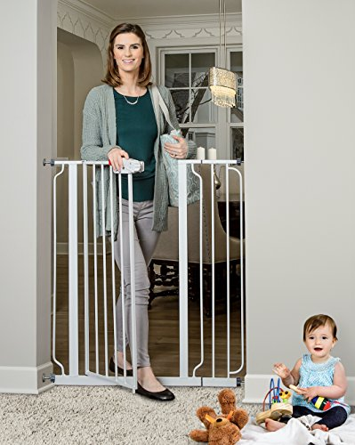 Spindle Regal - Regalo Easy Step Extra Tall Walk Thru Gate, Includes 4-Inch Extension Kit, 4 Pack of Pressure Mount Kit and 4 Pack of Wall Mount Kit