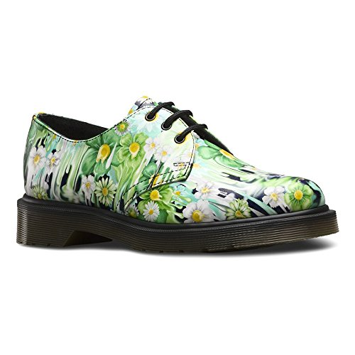Dr. Martens Women's Slime Floral 1461 3 Eye Oxfords, Green Leather, 5 M UK, 7 M US by Dr. Martens