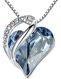 "[Presented by Miss New York Infinity Love Swarovski Crystal Heart Pendant Necklace, Silver-Tone, 17""+2"", 2017 Spring Collection, Nickel/Lead/Allergy Free, Luxury Gift Box"