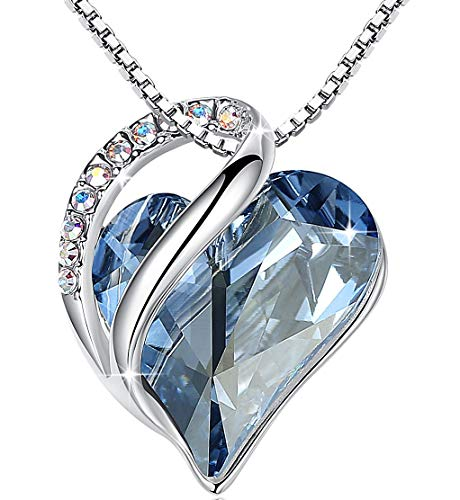 Leafael [Presented by Miss New York Infinity Love Made with Swarovski Crystals Light Blue Sapphire Heart Pendant Necklace, Silver-Tone, 17+2