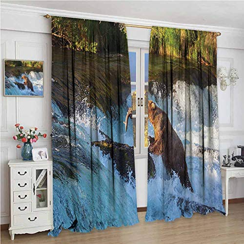 GUUVOR Natural Waterfall Decor Room Darkened Heat Insulation Curtain Image of Large Bear by A Rock in Alaska Waterfall Wildlife in Earth Art Print Living Room W108 x L72 Inch Multi