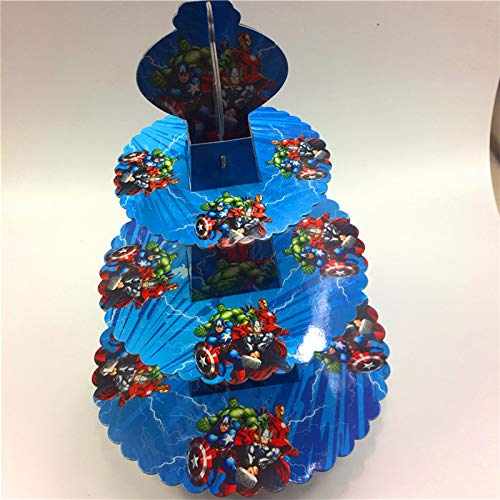 High Quality | Cake Decorating Supplies | Set Avenger Kids Verjaardag Decoratie Kartonnen Cupcake Stand Baby Shower Party Cupcake Stander Cartoon Cake Dessert Candy Bar | by HeroBar991 ()