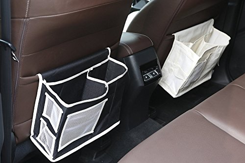 KONKY Sofa Organizer Bedside Storage Bag with 6 Pockets 1 Pumping Paper Pocket, Space Saver for Book, Remote Control, Phone, Glasses, Scissor in Living Room, Closet, Bedroom, Office, Dorm Rooms-WH