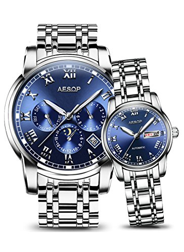 Her Couple Watches (AESOP Lovers Watches Women Men Couple Automatic Mechanical Wrist Wristwatch Waterproof Clock (blue))
