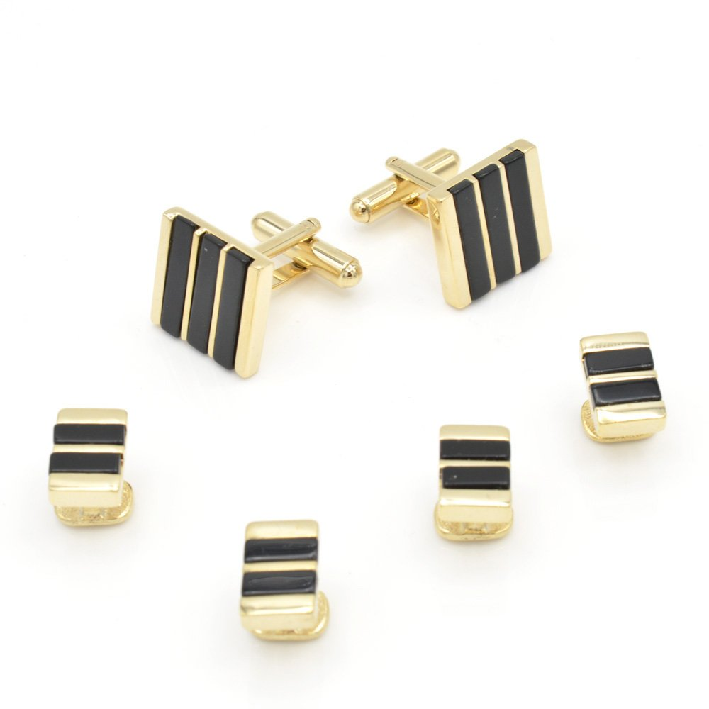 JJ Weston Onyx Tuxedo Cufflinks and Shirt Studs. Made in the USA