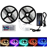 BATHEBRIGHT Led Strip Light Waterproof 600leds 32.8ft 10m Waterproof Flexible Color Changing RGB SMD 5050 600leds LED Strip Light Kit +44 Keys IR Remote Controller+12V 6A Power