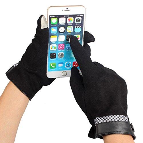 Coromose Men Wool Gloves Touch Screen Winter Motorcycle Warm Gloves (Black)