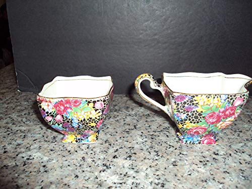 Stunning Royal Winton Grimwade's Hazel Sugar and Creamer (Fenton Glass Creamer)