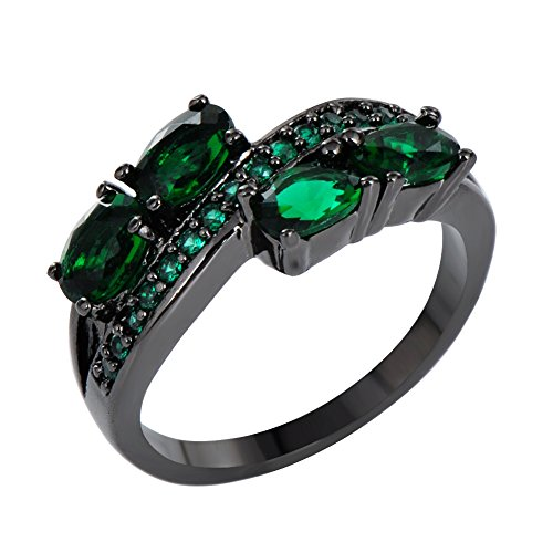 [JunXin Black Gold Emerald Green CZ May Birthstone Ring Wedding Oval Round Cut Size6/7/8/9/10(8)] (Tiffany Blue Costume Jewelry)