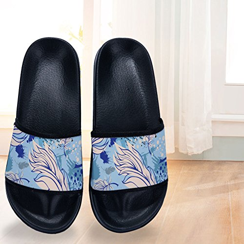 Grass Pattern Black Quick Leaves Cute Slip Slippers Non Drying Slippers for Womens Slippers wUTAOqnxS