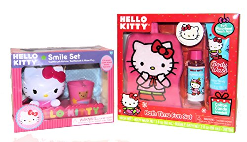 Hello Kitty Tub Time Friends Bath Gift set, Cotton Candy Scented Body Wash, Bubble Bath, Bath Mitt and Tooth brush Holder, Toothbrush and Rinse Cup - Hello Kitty Bath Set