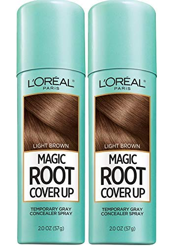 L'Oreal Paris Hair Color Root Cover Up Temporary Gray Concealer Spray Light Brown (Pack of 2) (Packaging May Vary) -