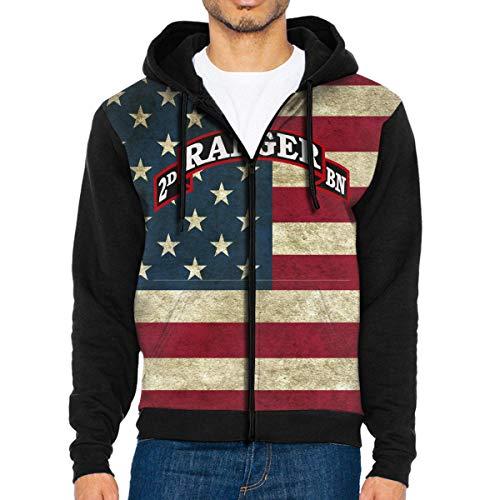 (NVTYGH HOODIE US Army Retro 2nd Ranger Battalion Full Zip Sweatshirt Drawstring Hoodies with Pockets)