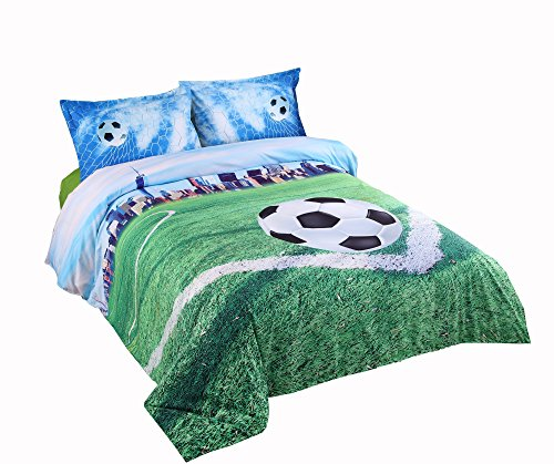 Lebather 3D Green Soccer in Field Bedding Cotton 4-Piece Duvet Cover Set with 2 Pillow Sham,1 Flat Sheet,1 Duvet Cover,King Size by Lebather
