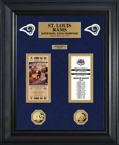 "NFL St. Louis Rams Super Bowl Ticket and Game Coin Collection Framed, Gold, 32"" x 27"" x 4"""