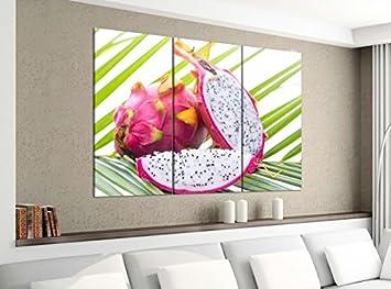 Amazon.de: Leinwandbild 3tlg 120cmx100cm Drachenfrucht Obst Küche ...