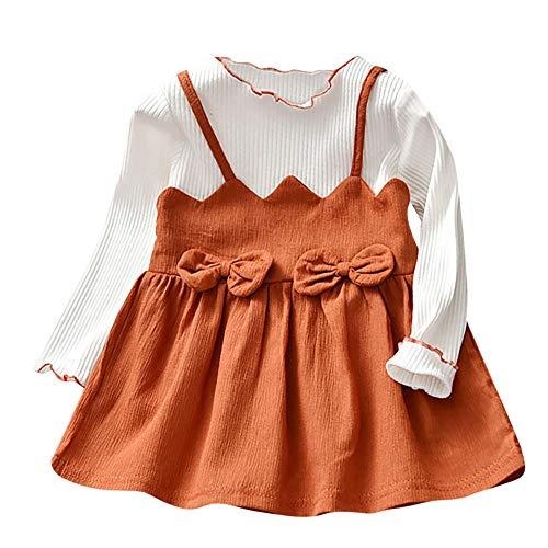 1252111c96877 子供ドレス Jopinica ベビーガール ボウパッチワーク パーティー プリンセス 服装 ロングスリーブ フェイク2個