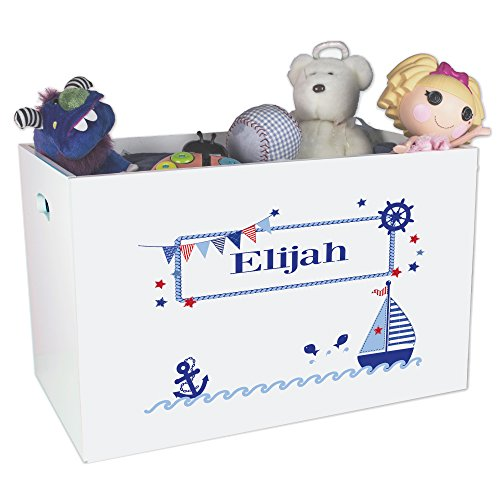 - Personalized Sailboat Childrens Nursery White Open Toy Box