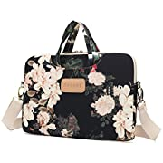 Dachee Black Peony Patten Waterproof Laptop Shoulder Messenger Bag Case Sleeve for 14 Inch 15 Inch Laptop Case Laptop…