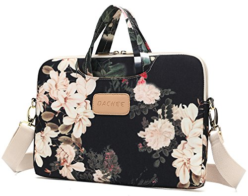 DACHEE Black Peony Patten Waterproof Laptop Shoulder Messenger Bag Case Sleeve for 14 Inch 15 Inch Laptop Case Laptop Briefcase 15.6 Inch Color And Carry Messenger Bag