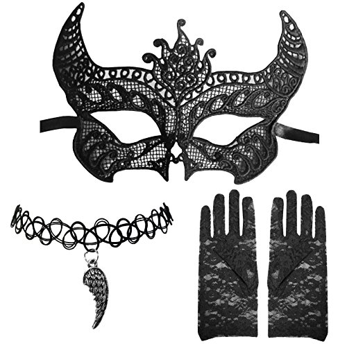 Floral Pendant Clip Earrings - Venetian Lace Devil Tie Mask +Angel Wing Choker + Floral Finger Less Gloves Set