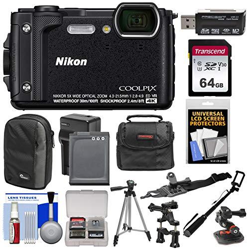 Nikon Coolpix W300 4K Wi-Fi Shock & Waterproof Digital Camera (Black) with 64GB Card + (2) Cases + Battery & Charger + Tripod + Handlebar & Helmet Mounts + - Time Wand Lapse