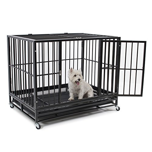 "Fur Family 42"" Heavy Duty Dog Crate Cage Kennel Pet Playpen with Tray, Black"