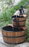 Wood Barrel with Pump Outdoor Water Fountain - Medium Size Garden Water Fountain Product SKU: PL50066