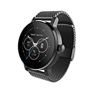 SMA-09 Smart Fitness Tracker Watch,Bluetooth Heart Rate Monitor Smartwatch for iPhone 5 5s 6 6s 6plus 7 7s 7plus 8 and Android Phone for Women Men Black-Steel Strap