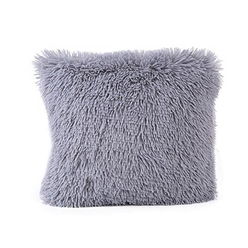 Price comparison product image OCASHI Decorative New Luxury Series Style Soft Plush Throw Pillow Case Cushion Cover for Sofa Bedroom Car 16 x 16 Inch (Gray,  16 x 16 Inch)