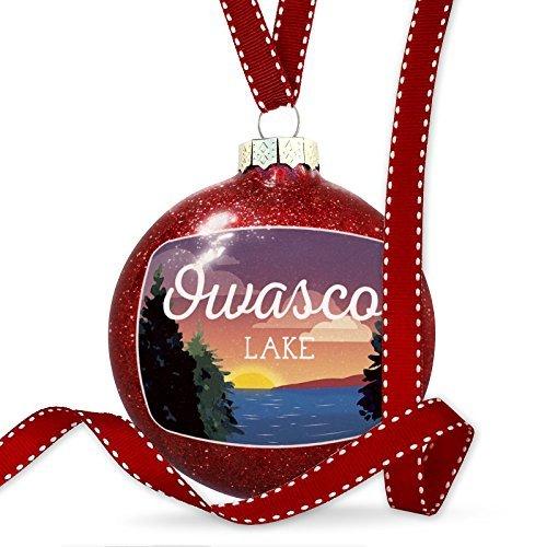 Christmas Decoration Lake retro design Owasco Lake Ornament by Acove