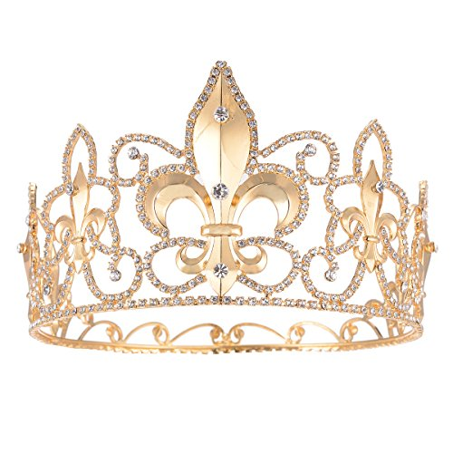 FF Full Round Man Tiara Fleur De Lis King's Tall Pageant Crown Gold -