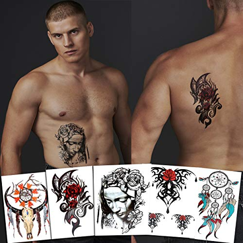 7 Cool Temporary Tattoos Assorted Styles and Designs - Dreamcatchers, Crying Woman, and Floral - For Adults and Teens Tattoos for Arms Legs Shoulder or -