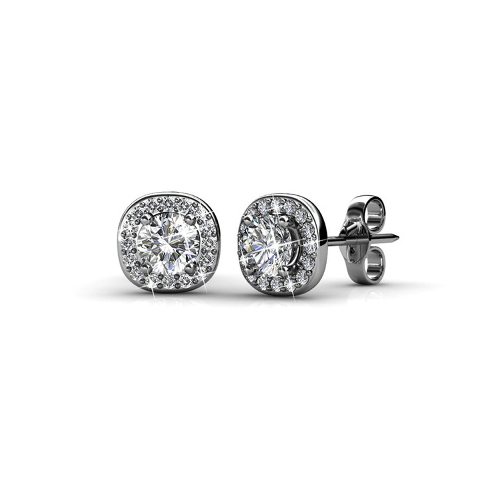 Cate & Chloe Ruth 18k White Gold Halo Studs with Swarovski Stones, Best Silver Earrings for Women, Beautiful Trendy Silver Stud Earring Set, Solitaire Earrings with Swarovski Crystals MSRP$129.00