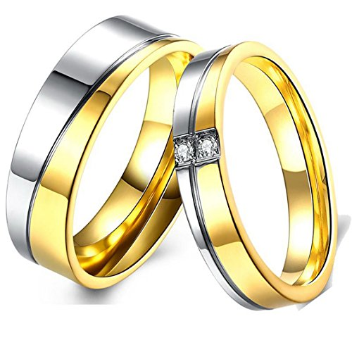 PSRINGS 18K Gold Plated Tungsten Carbide Ring Comfort Fit Lover Couples Diamond Finger Ring Alliance 10.0