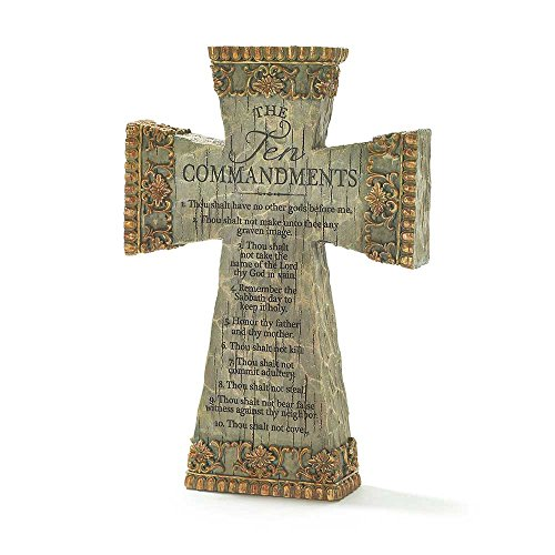 (Dicksons The Ten Commandments Antiqued Filigree 9 Inch Resin Tabletop Cross)