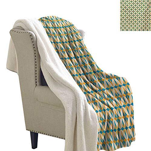 Josepsh Geometric Throw Blanket 60x78 Inch Abstract Geometric Origami Pattern Vintage Illustration Retro Style Print Warm Blanket Orange Teal Cream